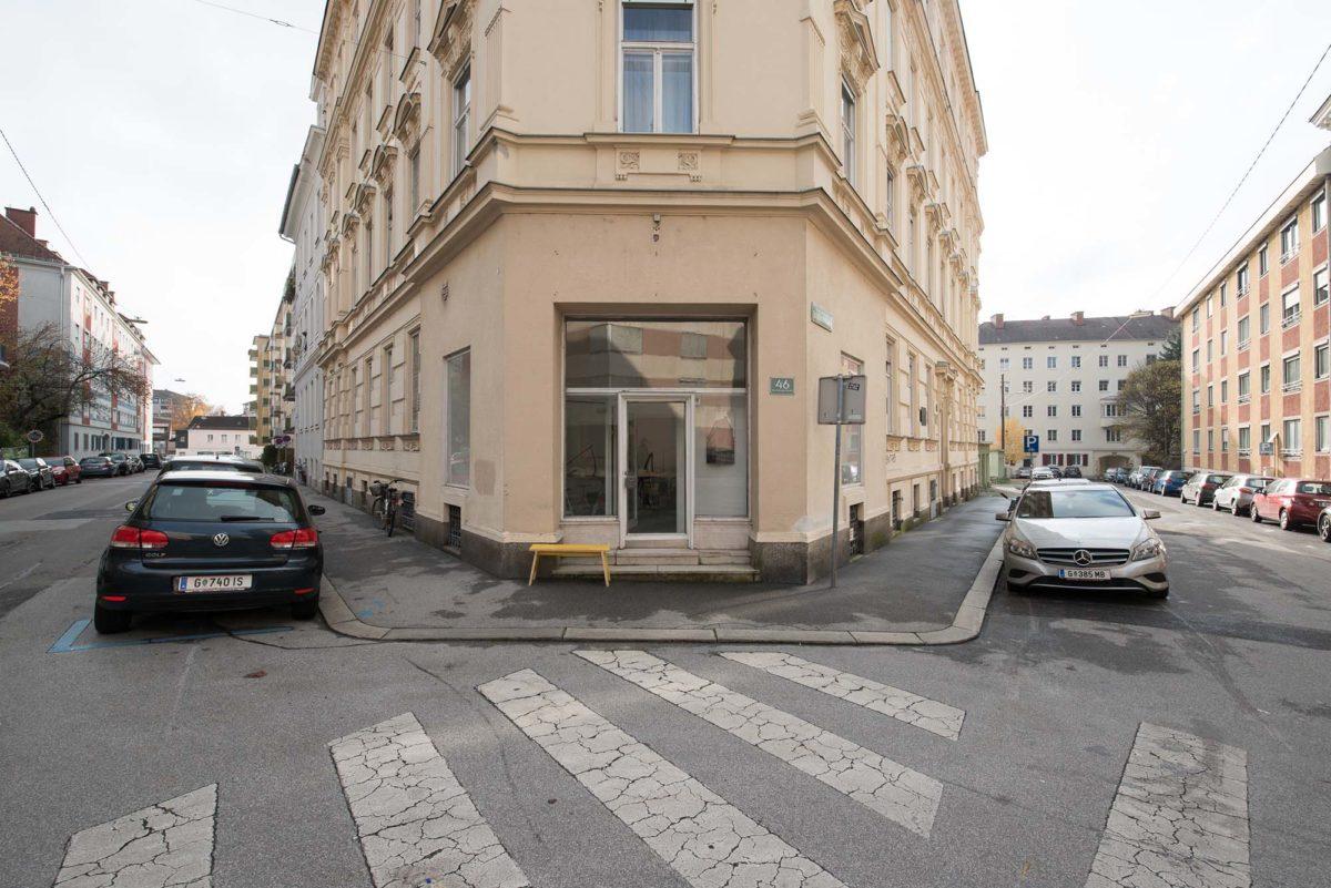 Atelier Rechbauerstraße Eingang Schaufenster